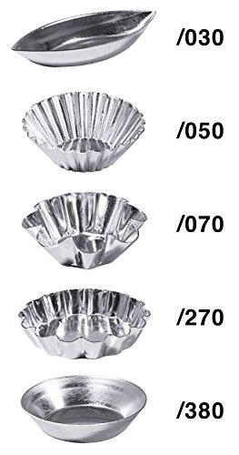 Petits-Fours in Schiffchen-, Marguerite-, Brioche- oder Tortletettenform, aus Weißblech | ERK (Marguerite-Form)