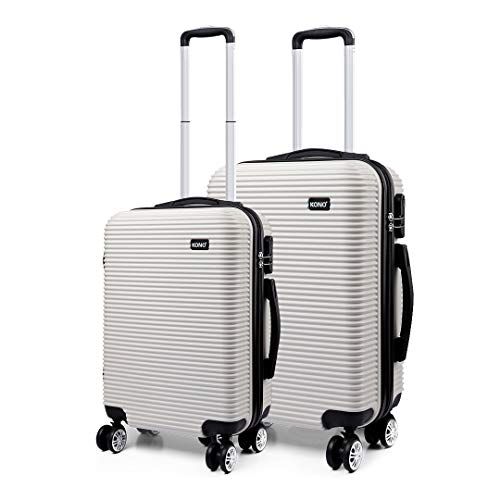 Kono Lightweight ABS Hard Shell Travel Trolley 2 Piece Luggage Set 4 Wheel Spinner 20' Carry on Hand Cabin Case Plus 24' Medium Hold Check in Suitcase (White)