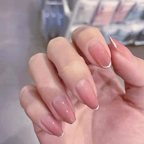 CLOAAE Long dot gradient nude pink solid color with golden shiny edges fake nails bride French plump nail skills ladies fake nails