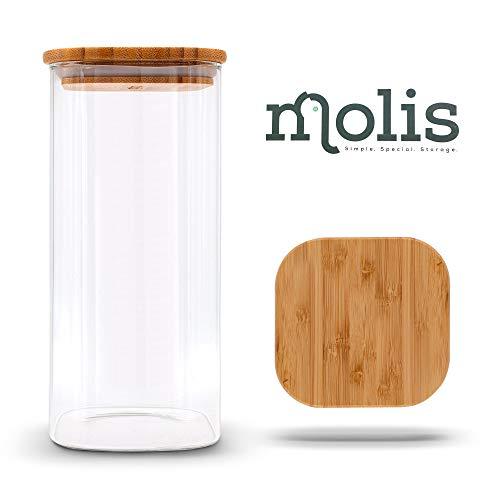 MOLIS Vorratsglas - Eckiges, stabiles Vorratsglas mit Bambusdeckel - 1 Kg Mehl - 1,5 Liter - große Vorratsdose - vielseitig einsetzbarer und aromadichter Vorratsbehälter