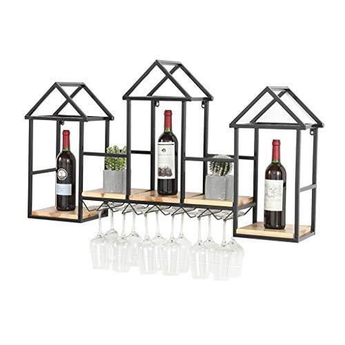 Decoración viva Almacenamiento de botellas de vino Estante de vino montado en la pared creativo europeo Restaurante creativo Gabinete de vino Soporte para copas de vino Estante para el hogar Estant