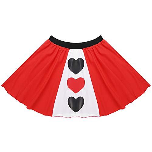 MSemis Disfraz Reina de Corazones para Mujer Chica Falda Corta de Fiesta Minifalda Plilsada Traje Disfraces Fiesta Navidad Halloween Cosplay Pais de Las Maravillas Rojo Medium