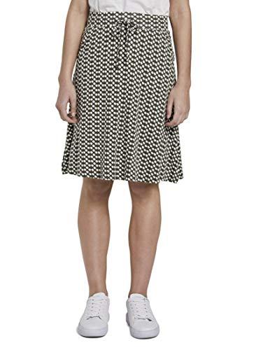 TOM TAILOR Damen Röcke Gemusterter Mini-Rock aus Jersey Khaki dot Design,40,22738,7000