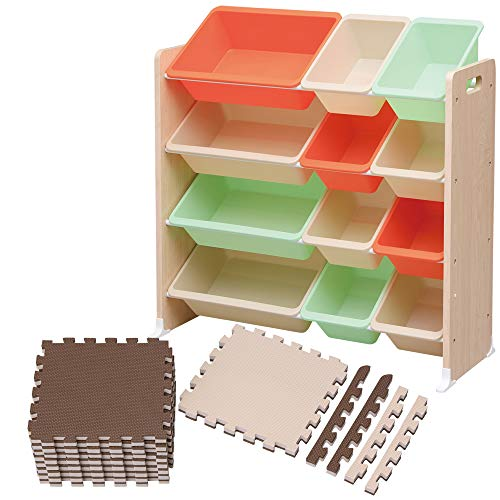 アイリスオーヤマ ジョイントマット モカブラウン/ベージュ 30×30 約1畳用(18枚) トイハウスラック おもちゃ 収納 セット