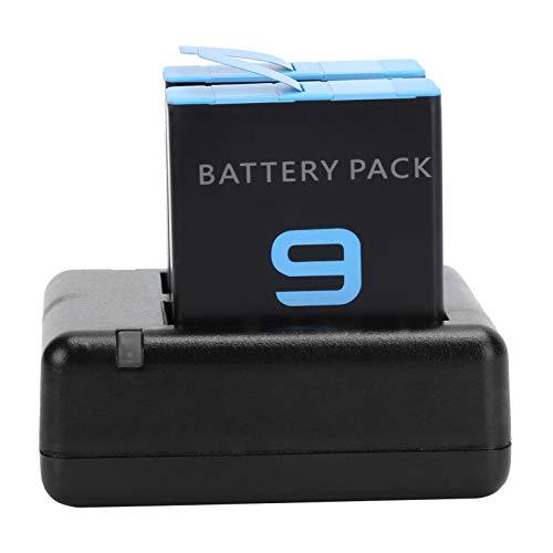 TAKE FANS Cargador de batería: Cargador Dual, batería de Litio de 1720 mAh para Accesorios de cámara Hero 9
