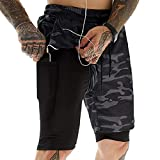 Voqeen 2 en 1 Pantalones Cortos Deportivos para Hombre, Pantalón Corto Deportivo Secado Rápido Shorts con Interna Bolsillo y Enchufe para Auriculares (Camuflaje Negro, XL)