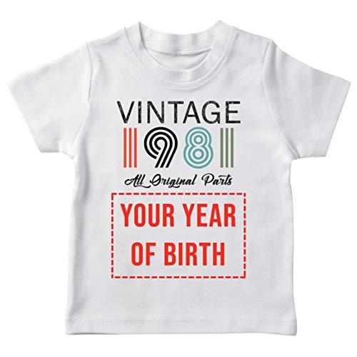 lepni.me Camiseta para Niños Personalizado con Cualquier Año Regalo Vintage Todas Las Piezas Originales (7-8 Years Blanco Multicolor)