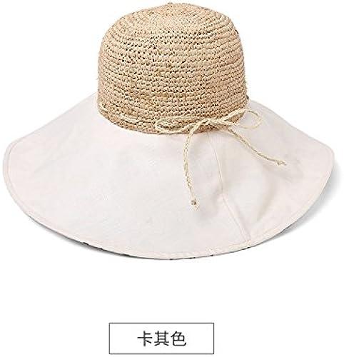 LLZTYM Chapeau De Paille Femme été épissure Parasol Main Tricot Pliage Chapeau Cadeau