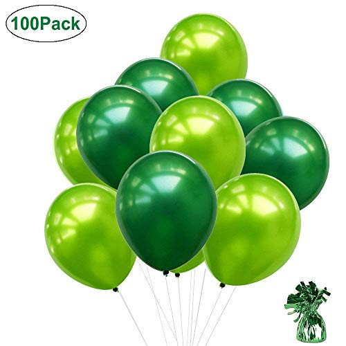 100 stücke 10 Zoll Grüne Ballons, Hellgrüne Ballons Dunkelgrüne Ballons Ballongewicht für Saint Patrick & Irish Parties Party Supplies Hochzeit Geburtstag Party Baby Shower Dekoration