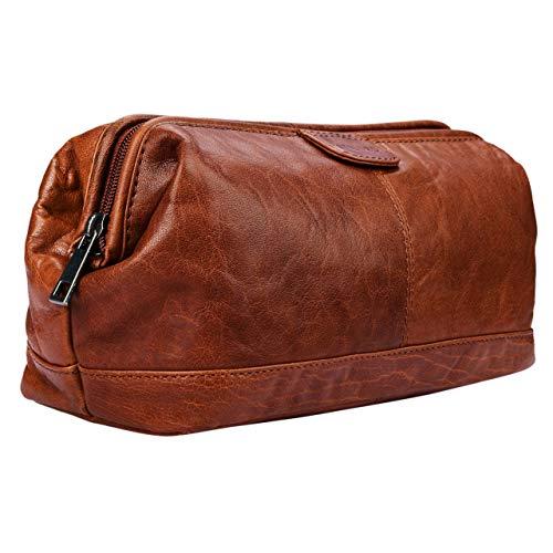 STILORD 'Laurin' Beauty Case uomo in pelle Trousse da viaggio Porta trucco rigido Portatrucco Pochette vintage cuoio, Colore:brandy - marrone