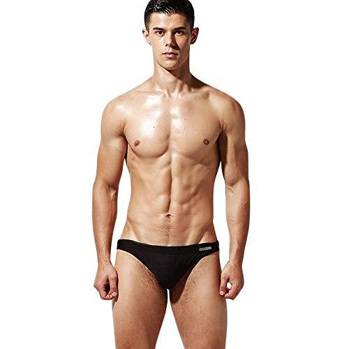 Lantra Besa Einfarbig Herren Badehose Slip Bikini Bottom für Sommer Schwimmen MEHRWEG (Typ 41) - Schwarz (Asiatische Größe L)