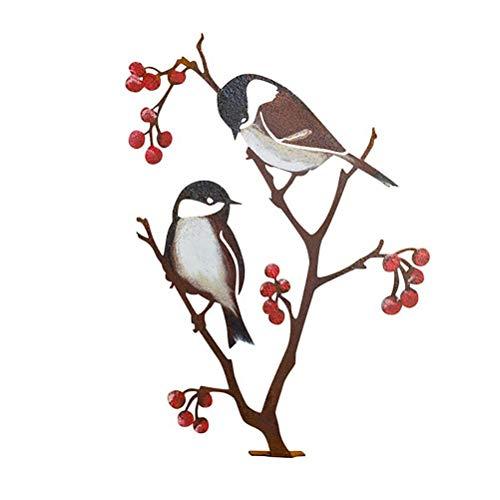 Wawogic Decoración De Jardín Adorno De Silueta De Pájaro Artificial 3D Hierro Forjado Simulación Escultura De Pájaro Artesanía Colgante De Pared Decoración De Jardín Adornos Al Aire Libre