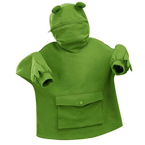OPIAL Sudadera con capucha para mujer, diseño de rana, con capucha, color verde