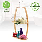 Rustproof Hanging Wood Shower Caddy - 2 Tier Waterproof and Natural Bamboo Bathroom Wall Organizer with Stainless Steel Shelf Rack for Shampoo, Conditioner and Soap Storage - SereneLife SLSHCD45