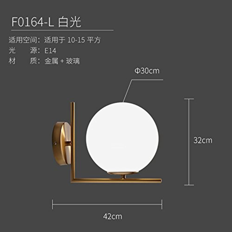 StiefelU LED Wandleuchte nach oben und unten Wandleuchten Led-Wandleuchte Schlafzimmer Nachttischlampe Glas Wandleuchte Edelstahl verGoldet, runde Wand leuchten, F1064-L weies Licht