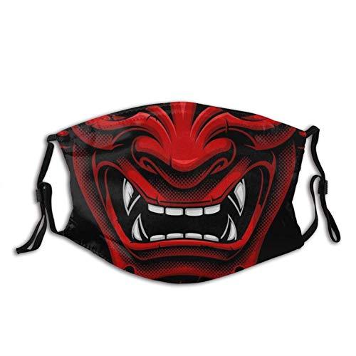 Impresionante Samurai Oni Mascarilla facial reutilizable lavable bufandas ajustables de moda para adultos con 2 filtros (rojo japonés Samurai)