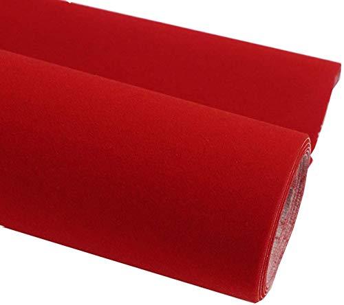 Taogift Película de Vinilo autoadhesiva Terciopelo Flock Muebles Pegatina Forro para exhibiciones de Joyas Estante Cajón Cómoda Armarios Forro Artesanía Decoración (Rojo, 45CMx2,5M)