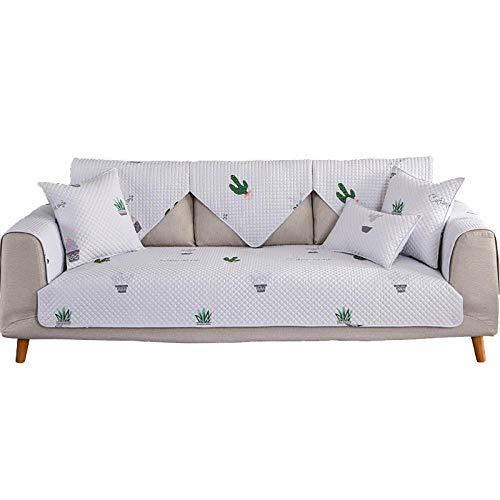 YUTJK Funda Universal para Sofá Antideslizante,Funda para Toalla de Sofá,Protector para Muebles,Acolchado de Felpa,Cubierta de sofá Acolchada de algodón Lavable-Blanco_90×120cm