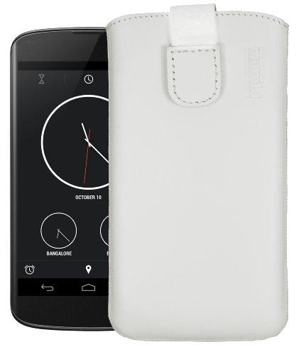 mumbi Echt Ledertasche kompatibel mit LG Google Nexus 4 Hülle Leder Tasche Case Wallet, Weiss