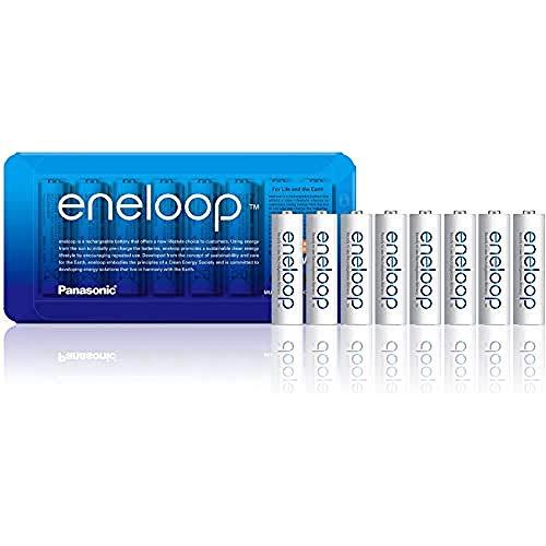 Panasonic eneloop, confezione da 8 pile NiMH pronte all'uso, AA stilo, confezione utilizzabile come custodia, min. 1900 mAh, 2100 cicli di carica, potenza elevata, batteria accumulatore ricaricabile