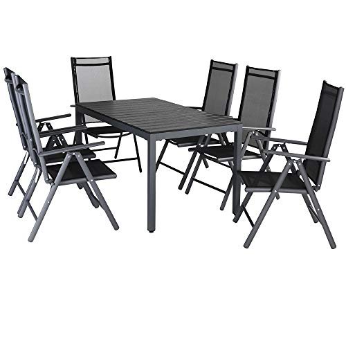 Casaria Garden Dining Table 'Bern' and Chairs Set 6 Seater Aluminium