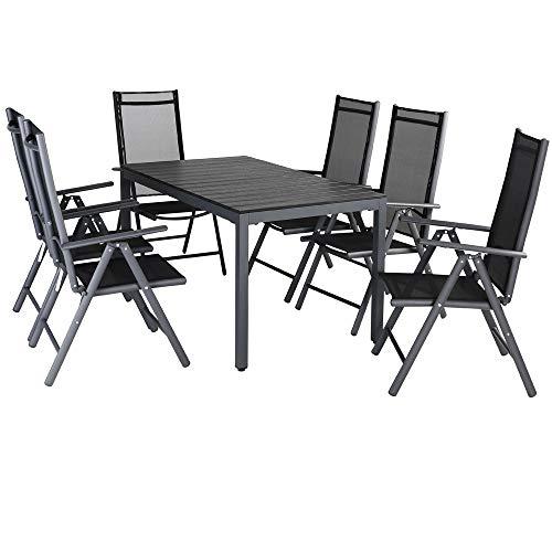 Casaria Aluminium Sitzgruppe 6 Klappstühle Hochlehner WPC Gartentisch 140x80 cm Sitzgarnitur Alu Gartenmöbel Set Grau