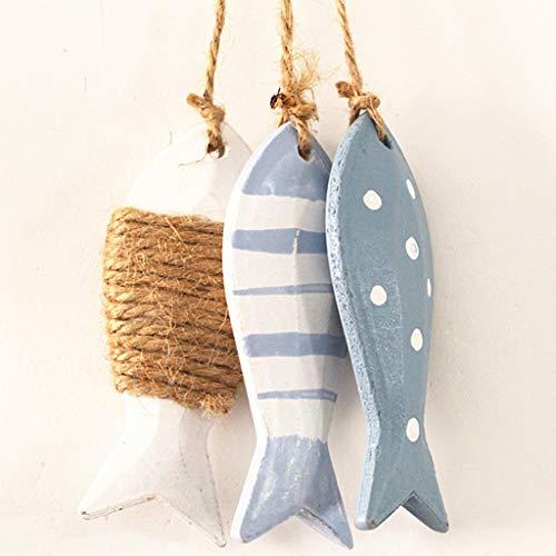 B Blesiya Holz Fische Anhänger Hängedeko Maritim Meer Dekoration - Farbe 02