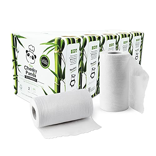 The Cheeky Panda – Bamboo Kitchen Rolls   Bulk Box of 10 Rolls (5 Pack of 2 Rolls, 2-Ply)   Biodegradable, Multipurpose, Plastic-Free, Eco-Friendly, Super Absorbent, Strong & Sustainable