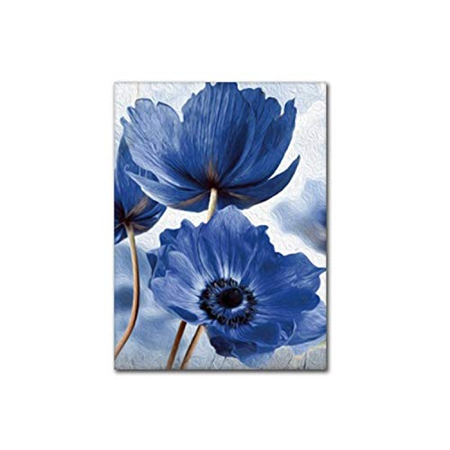 Amanda HoratioSimple Blue Flowers Dekorative Gemälde auf Leinwand Poster und Drucke Wandbild für Wohnzimmer Zuhause Dekoration in Malerei Kalligraphie von Home Garden 30 x 40 cm, ohne Rahmen