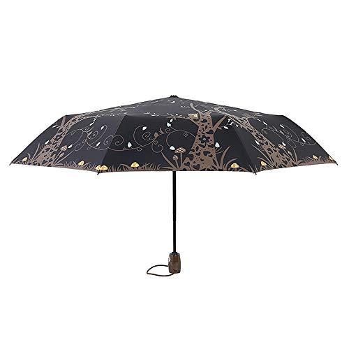 xinrongqu Automatikschirm Schwarzer Kunststoff Sonnenschirm Sonnenschutz Uv Regenschirm Regenschirm Kreative Eulenschirm Falten