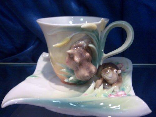 Franz Collection Flusspferd & Baby Set Tasse/Untertasse