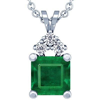 18K White Gold Emerald Cut Pendant