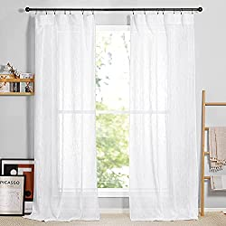RYB Home White Sheer Curtains