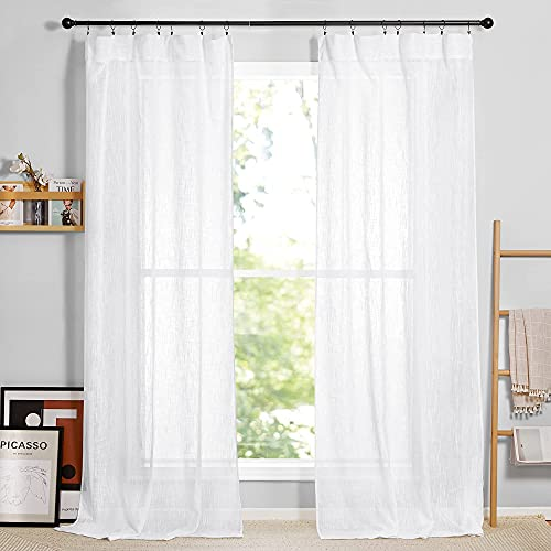 RYB HOME White Sheer Curtains for Living Room - Privacy Linen Fabric Curtains Semitransparent Farmhouse Country Curtains Light & Airy for Patio Door Bedroom Bay Window, W 52 x L 90 inch, 2 Panels