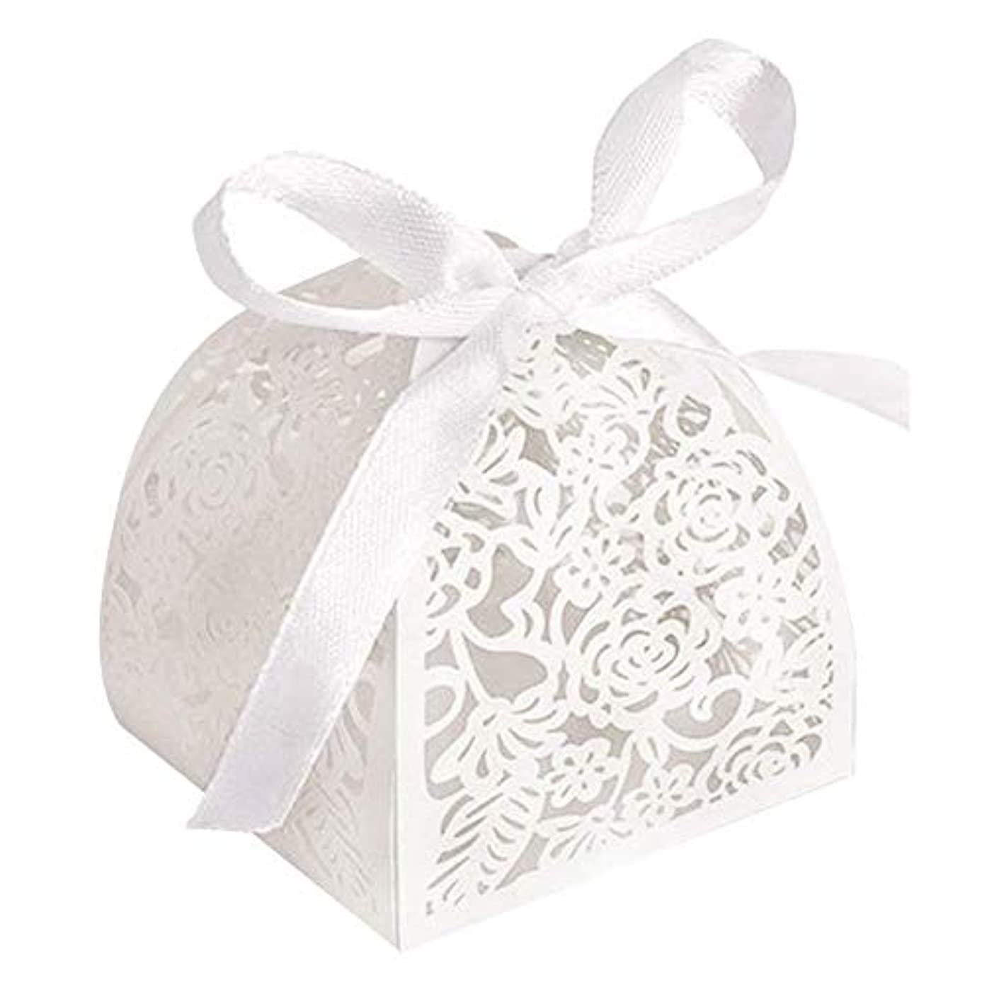 YOZATIA 50pcs Laser Cut Rose Candy Boxes, 2.6''x2.6''x2.8'' Gift Boxes for Anniverary Party Wedding Favor(White)