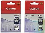 Canon PG-512+CL-513 - Cartucho de tinta original Negro y Tricolor para Impresora de Inyeccion de tinta Pixma