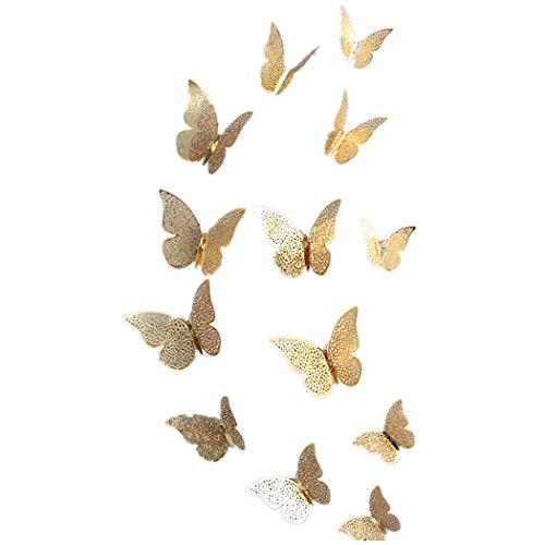 FORH 12 PCS 3D Schmetterlinge Wanddeko Aufkleber Abziehbilder Wand Aufkleber Hauptdekorationen Wandtattoo Schmetterlings Regenbogen Wand-dekor Kinder Baby Schlafzimmer Deko (Gold)
