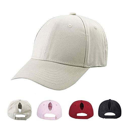 CheChury Gorra de Béisbol Mujer Cola de Caballo Ajustable Sombreros Classic Moda Color Sólido Gorra De Visera Sport Transpirable Casuales Sombrero