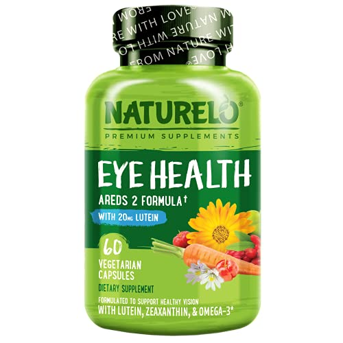 NATURELO Eye Vitamins - AREDS 2 Formula Nutrients with Lutein, Zeaxanthin, Vitamin C, E, Zinc, Plus DHA - Supplement for Dry Eyes, Healthy Vision, Eye Support - 60 Vegan Capsules