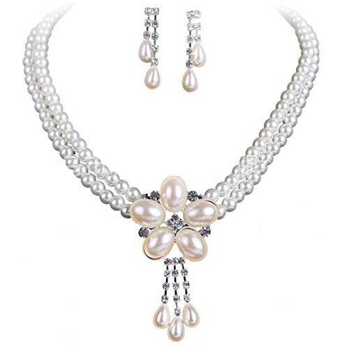 Miya® Mega Glamour joyas Juego de perlas cadena cadena con dulce blünte...
