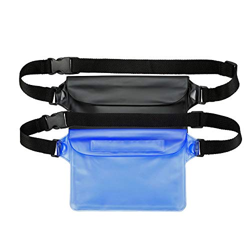 BO KAI LUN Waterproof Pouch with Waist Strap (2 Pack)   Best Way to Keep Your Phone and Valuables Safe and Dry   Perfect for Boating Swimming Snorkeling Kayaking Beach Pool Water Parks