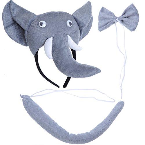 PRETYZOOM 3pcs Disfraz de Elefante para Niños Conjunto de Diadema con Orejas Animal Cola y Pajarita Traje de Costume para Fiesta Carnaval
