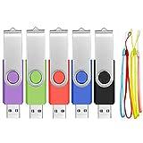 Pen Drive 2GB 5 Piezas Memorias USB - Giratoria Multicolor Pendrive 2 GB Buena Portátil Unidad Flash USB 2.0 - Almacenamiento Externo Práctico Kit de Llave USB con 5 Unidades Cuerdas by FEBNISCTE