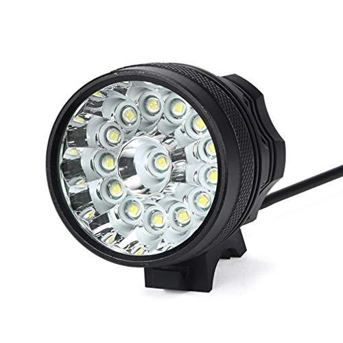 Hanyixue - Torcia a LED, 34000 lm, 14 x CREE XM-L T6, 6 batterie 18650, per ciclismo, leggera, impermeabile, colore nero
