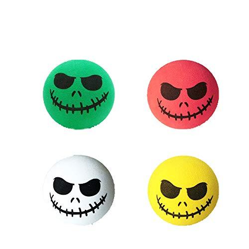 KOOBOOK 4Pcs Funny Halloween Skull Smile Car Antenna Topper Aerial Ball Car Antenna Decoration Doll