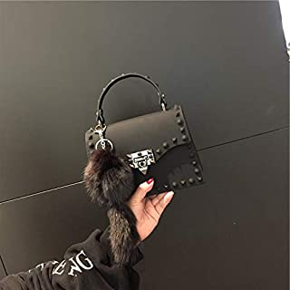 Adebie - Fashion Jelly Women Handbags Lady Brand Designer High Quality Shoulder Crossbody Bags for Girl Cute Luxury Rivet Small Tote Bag M Black []