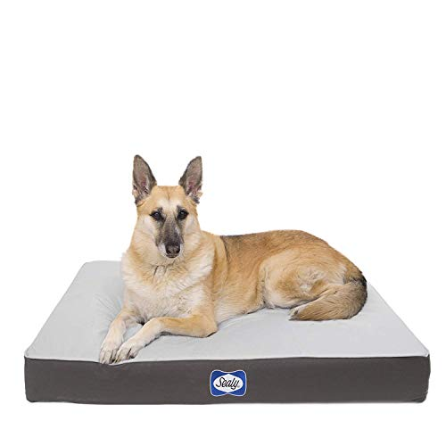 Sealy Dog Bed Defender Series, IPX5 Certified Indoor/Outdoor Dog Bed, Large Grey (94604)