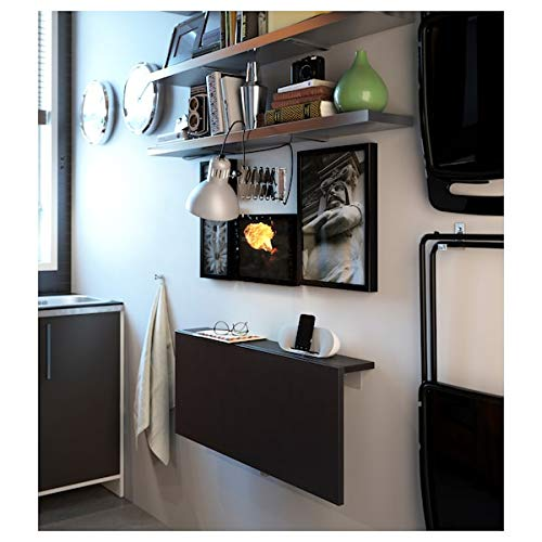 BJURSTA Wall-mounted drop-leaf table, brown-black, 90x50 cm, durable and easy to care for. Wall-mounted tables. Dining tables. Tables & desks. Furniture. Environment friendly.
