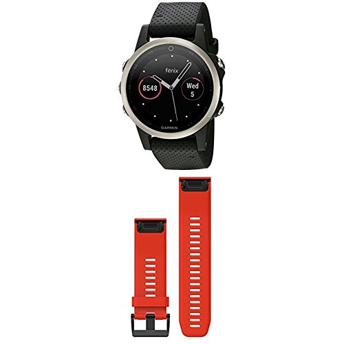 Best Price Garmin Fenix 5S - Silver with Black Band and 010-12517-02 Fenix 5X Quick fit 26 Watch Ban...