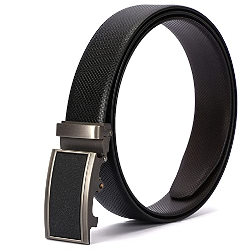 GAINX Men's Genuine Leather Auto Lock Buckle Belt (Free Size, Black Brown/Tan)